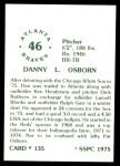 1976 SSPC #135  Dan Osborn  Back Thumbnail