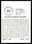 1976 SSPC #108  Glenn Adams  Back Thumbnail