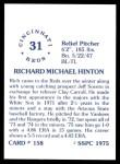 1976 SSPC #158  Rich Hinton  Back Thumbnail