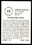 1976 SSPC #79  Dave Lopes  Back Thumbnail