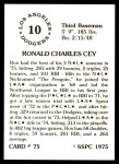 1976 SSPC #75  Ron Cey  Back Thumbnail