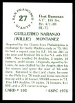1976 SSPC #103  Willie Montanez  Back Thumbnail