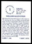 1976 SSPC #146  Bill Stein  Back Thumbnail