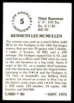 1976 SSPC #80  Ken McMullen  Back Thumbnail
