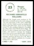 1976 SSPC #192  Dick Williams  Back Thumbnail