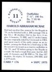 1976 SSPC #176  Hal McRae  Back Thumbnail