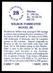 1976 SSPC #139  Wilbur Wood  Back Thumbnail