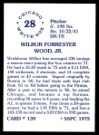 1976 SSPC #139  Wilbur Wood  Back Thumbnail