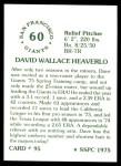 1976 SSPC #95  Dave Heaverlo  Back Thumbnail