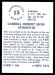 1976 SSPC #166  Bob Stinson  Back Thumbnail