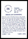1976 SSPC #141  Brian Downing  Back Thumbnail