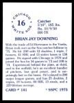 1976 SSPC #141  Brian Downing  Back Thumbnail