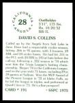 1976 SSPC #191  Dave Collins  Back Thumbnail