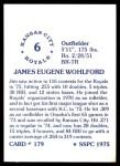 1976 SSPC #179  Jim Wohlford  Back Thumbnail