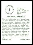 1976 SSPC #197  Orlando Ramirez  Back Thumbnail