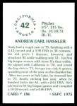 1976 SSPC #186  Andy Hassler  Back Thumbnail