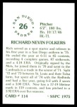 1976 SSPC #114  Rich Folkers  Back Thumbnail