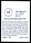 1976 SSPC #155  Bill Melton  Back Thumbnail