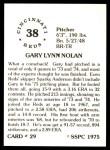 1976 SSPC #29  Gary Nolan  Back Thumbnail