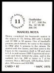 1976 SSPC #87  Manny Mota  Back Thumbnail