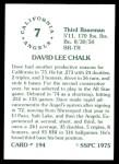 1976 SSPC #194  Dave Chalk  Back Thumbnail
