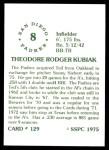 1976 SSPC #129  Ted Kubiak  Back Thumbnail