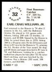 1976 SSPC #13  Earl Williams  Back Thumbnail