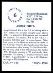 1976 SSPC #144  Jorge Orta  Back Thumbnail