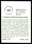 1976 SSPC #98  Charlie Williams  Back Thumbnail