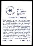 1976 SSPC #140  Lloyd Allen  Back Thumbnail