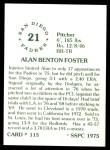 1976 SSPC #115  Alan Foster  Back Thumbnail