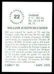 1976 SSPC #91  Bill Buckner  Back Thumbnail