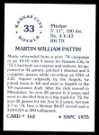 1976 SSPC #162  Marty Pattin  Back Thumbnail