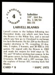 1976 SSPC #8  Larvell Blanks  Back Thumbnail