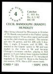 1976 SSPC #121  Randy Hundley  Back Thumbnail