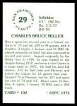 1976 SSPC #102  Bruce Miller  Back Thumbnail