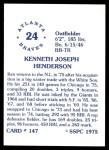 1976 SSPC #147  Ken Henderson  Back Thumbnail