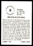 1976 SSPC #53  Milt May  Back Thumbnail