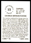 1976 SSPC #44  George Foster  Back Thumbnail