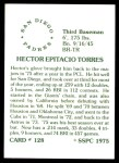 1976 SSPC #128  Hector Torres  Back Thumbnail