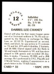 1976 SSPC #33  Darrel Chaney  Back Thumbnail