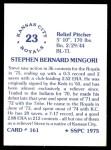 1976 SSPC #161  Steve Mingori  Back Thumbnail