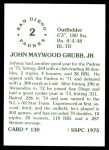1976 SSPC #130  Johnny Grubb  Back Thumbnail