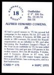 1976 SSPC #175  Al Cowens  Back Thumbnail