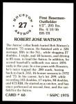 1976 SSPC #60  Bob Watson  Back Thumbnail