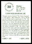 1976 SSPC #187  Nolan Ryan  Back Thumbnail