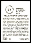1976 SSPC #84  Willie Crawford  Back Thumbnail