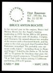 1976 SSPC #200  Bruce Bochte  Back Thumbnail