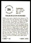 1976 SSPC #65  Wilbur Howard  Back Thumbnail