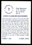 1976 SSPC #169  John Mayberry  Back Thumbnail